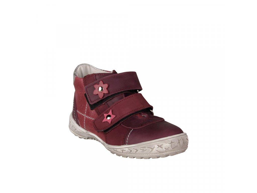 Dětská kožená kotníková obuv ESSI na suché zipy vínová vel. 27 - 30