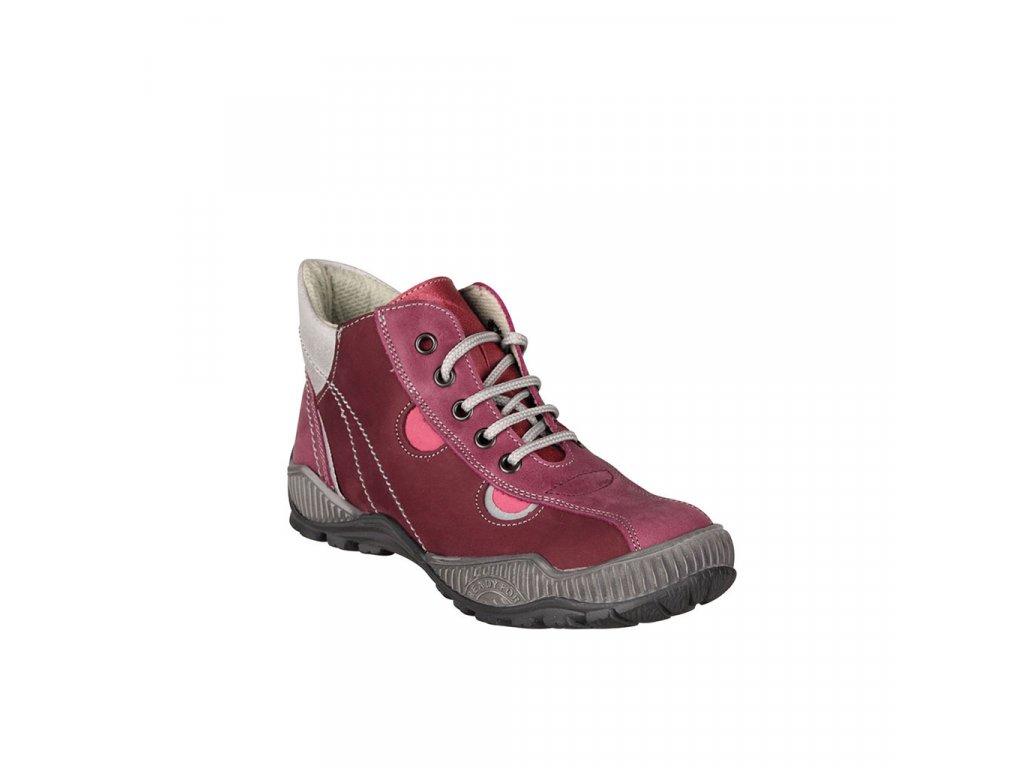 Dětská kožená kotníková obuv na šněrování v bordó barvě vel. 27-30