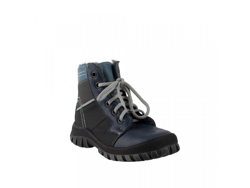 Dětská kotníková kožená obuv na šněrování v černé barvě vel. 27-30