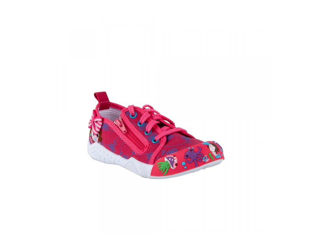 Dětská plátěná obuv na šněrování se zipem na boku v červené barvě vel. 25-29