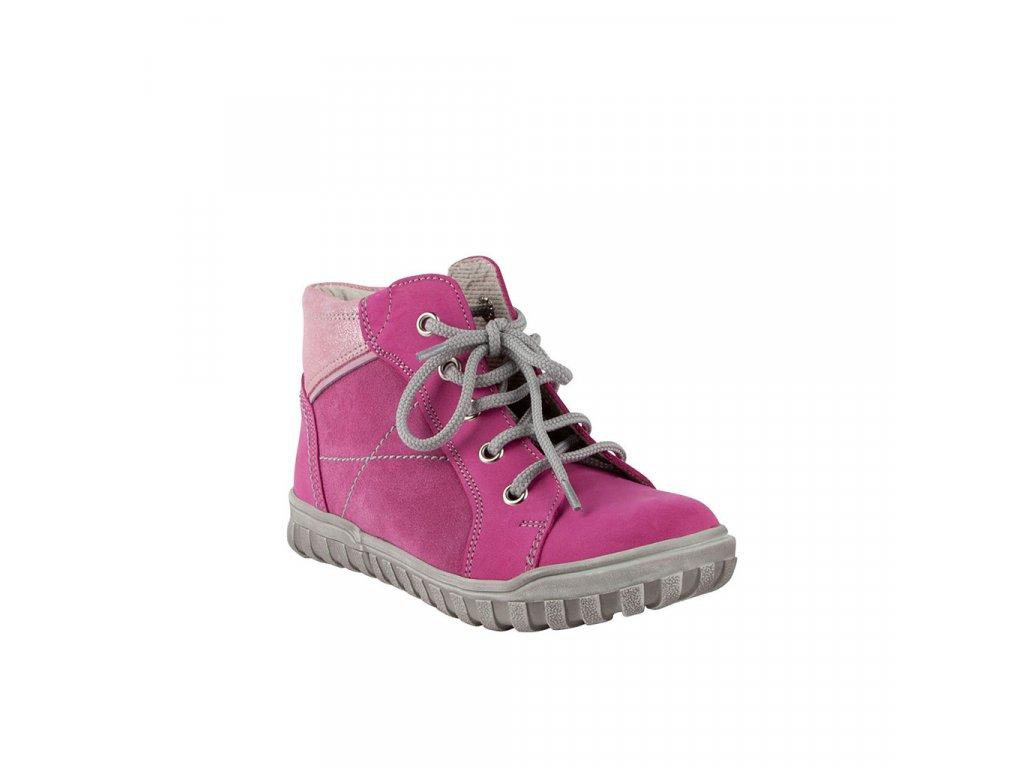 Dětská kotníková kožená obuv na šněrování v růžové barvě vel. 27-30