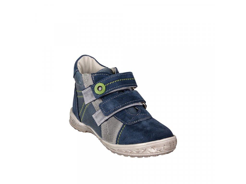 Dětská kotníková kožená obuv na suchý zip v modré barvě vel. 21-22