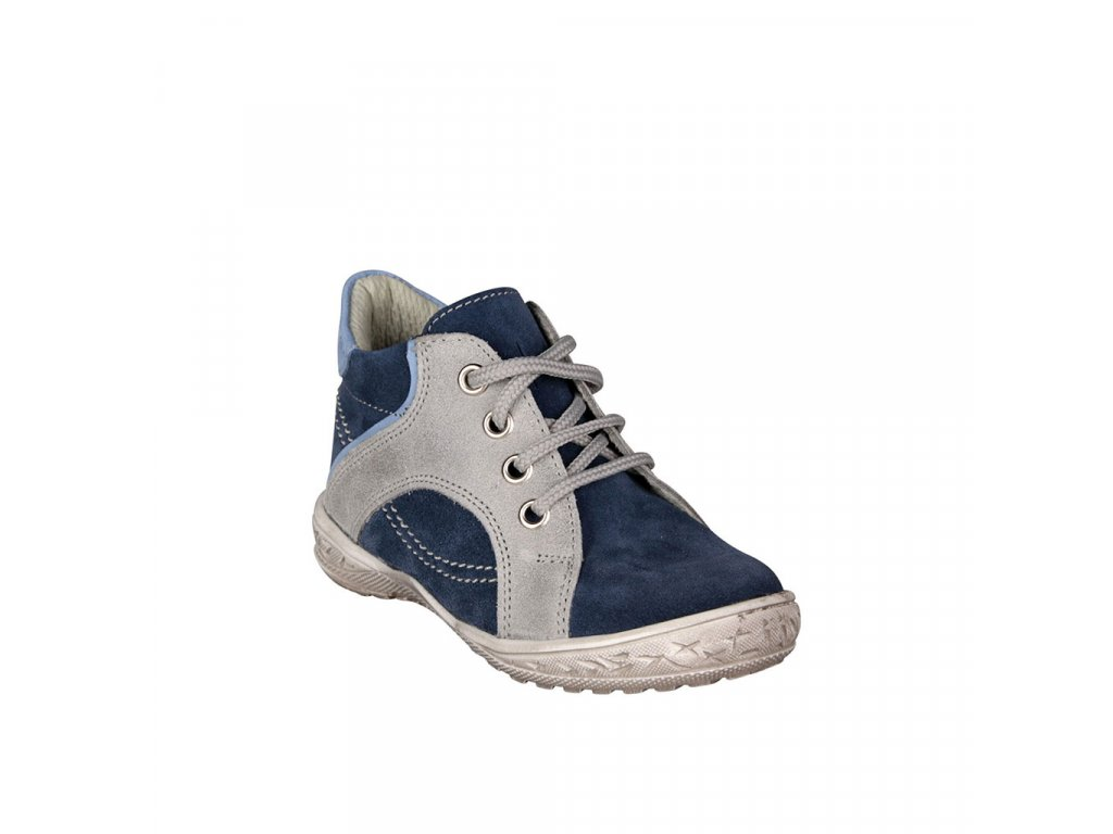 dětská kotníková kožená obuv na šněrování v modré barvě vel. 22
