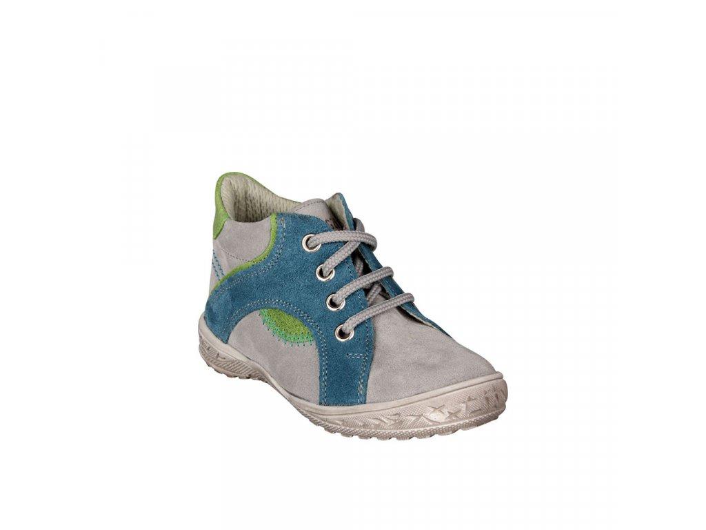 Dětská kotníková kožená obuv na šněrování v šedé barvě vel. 22