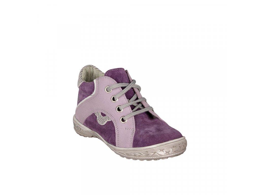 Dětská kotníková kožená obuv na šněrování ve fialové barvě vel. 22
