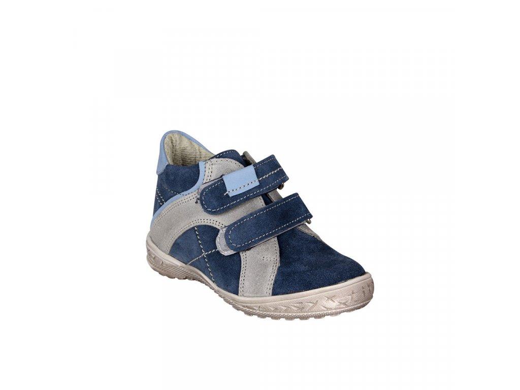 Dětská kotníková kožená obuv na suchý zip v modré barvě vel. 22