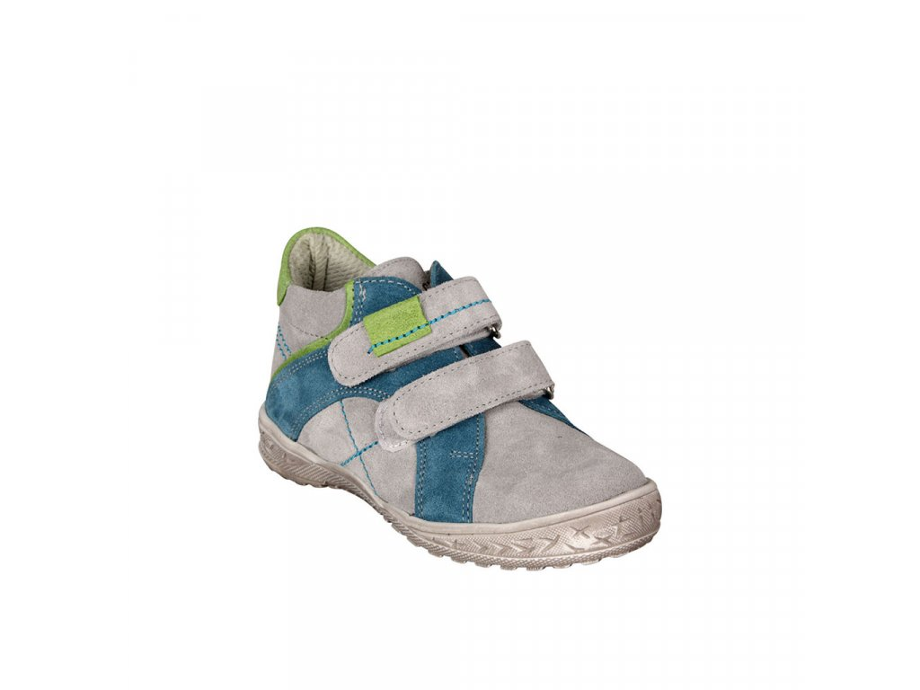 Dětská kotníková kožená obuv na suchý zip v šedé barvě vel. 21