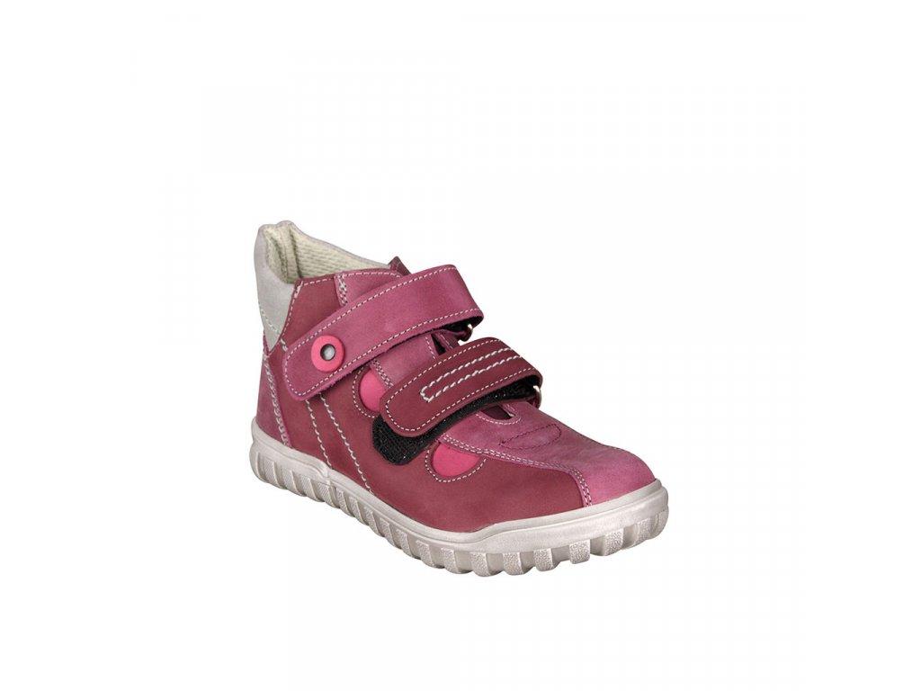Dětská kotníková kožená obuv na suchý zip v růžové barvě vel. 31