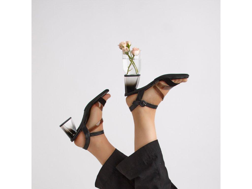 Dámské kožené páskové sandály HISPANITAS černé 2125001