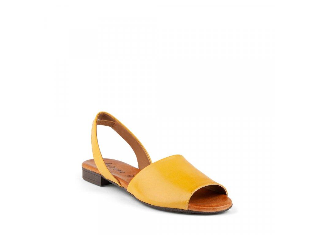 Dámské kožené prozouvací sandály ARIANNA žluté