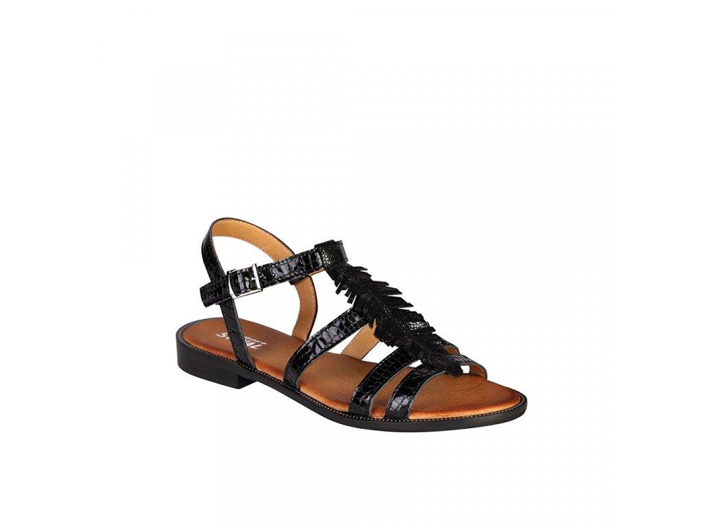 Dámské kožené lakované černé sandály STIVAL