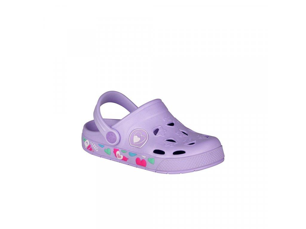 Dívčí nazouváky v fialové barvě se srdíčky COQUI Frogy