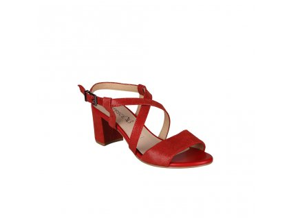 Dámské kožené červené sandály na vyšším podpatku s překříženými pásky na nártu CAPRICE
