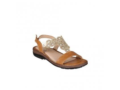 Dámské hnědé sandály s ozdobným nártovým páskem na nízkém podpatku PAREX