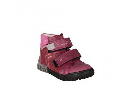 Dětská kožená kotníková obuv na suchý zip ve vínové barvě vel. 31-33