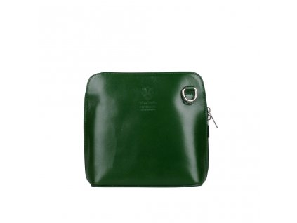 Dámská kožená kabelka crossbody lahvově zelená