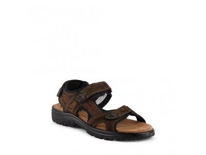 Pánské kožené hnědé sandály na suchý zip KLONDIKE