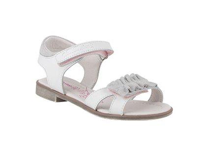 Dětské kožené sandálky bílé D.D.STEP