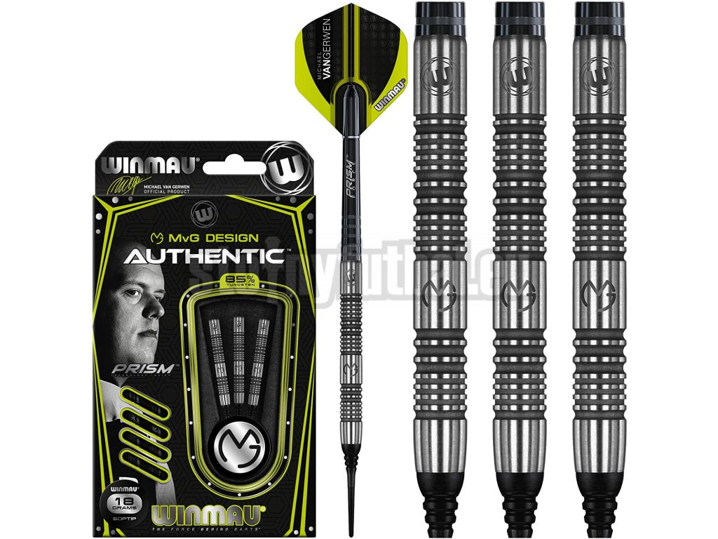 Šípky Winmau steel MvG Authentic 22g, 85% wolfram