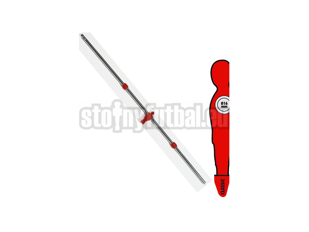 Tyč na stolný futbal 16 mm s 1 červený hráč-brankár