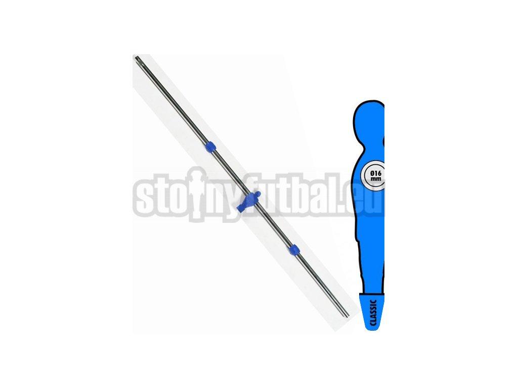 Tyč na stolný futbal 16 mm s 1 modrý hráč-brankár