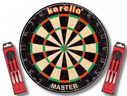Sisalový šípkový terč Karella MASTER + 2 sety šípok ST1