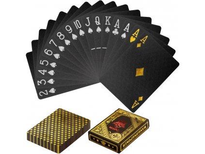 Poker karty plastové - čierno/zlaté