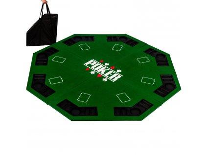 Skladacia pokerová podložka osemhran zelená