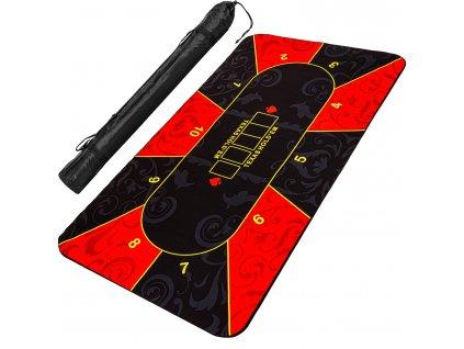 Skladacia pokerová podložka, červeno / čierna, 160 x 80 cm