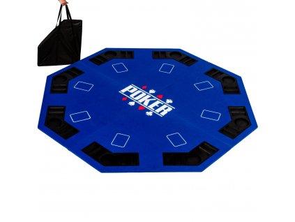Skladacia pokerová podložka osemhran modrá