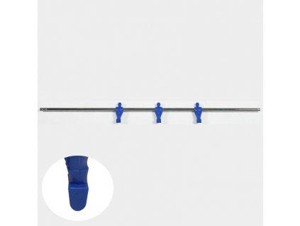 Tyč pre stolný futbal 3 hráči modrý