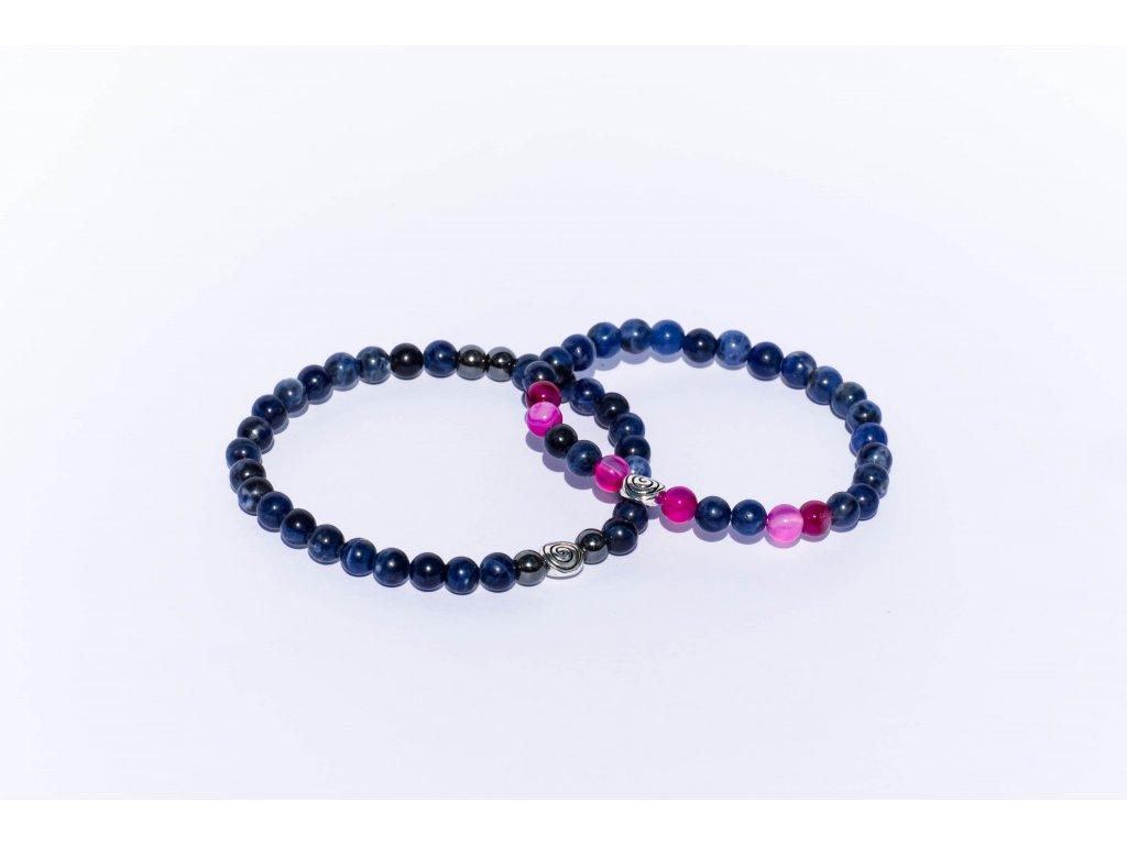 d55658440 Partnerské náramky - Lapis lazuli, achát růžový, hematit 6mm - Stone ...