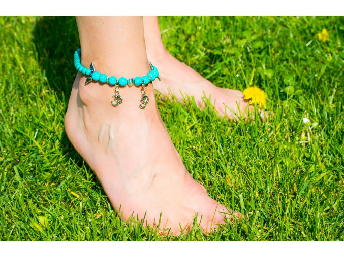 Náramek na nohu - tyrkenit, symbol Om