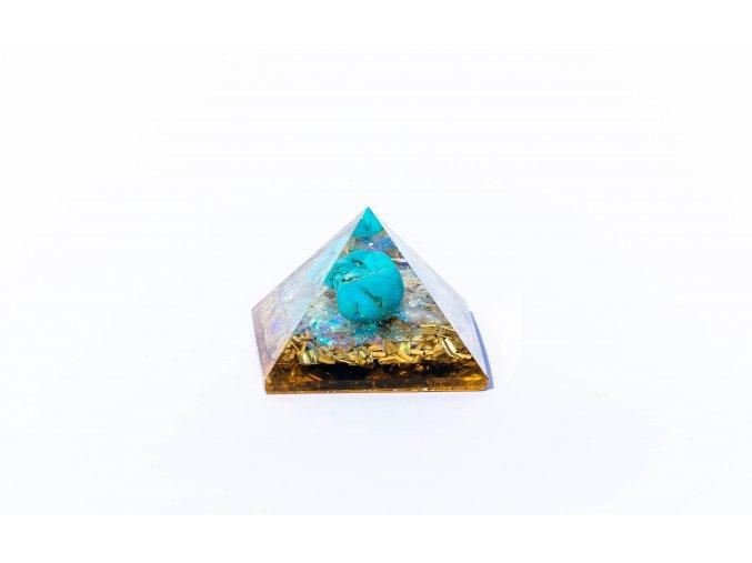 Orgonit pyramida tyrkys 40x40mm