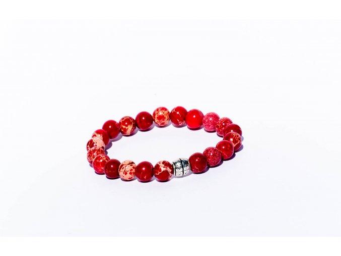 Magnezit červený ozdobený 8mm