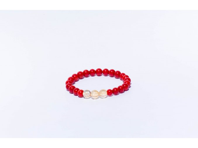 Náramek pro děti -  červený korál, citrín 6mm