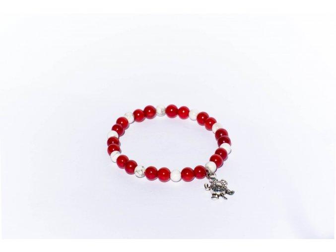 Náramek pro děti - červený korál, magnezit 6mm
