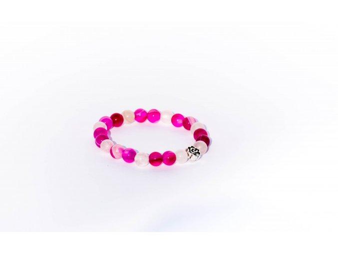 Náramek pro děti -  achát růžový, růženín  6mm