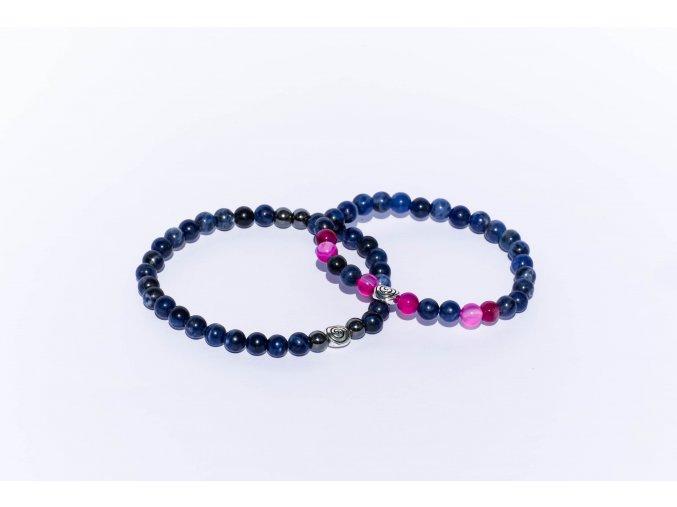 Partnerské náramky - Lapis lazuli, achát růžový, hematit 6mm