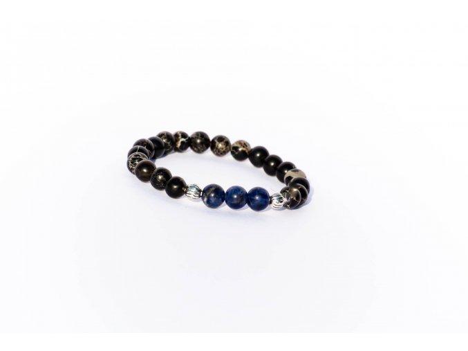 Náramek pro děti - černý magnezit, lapis lazuli 6mm