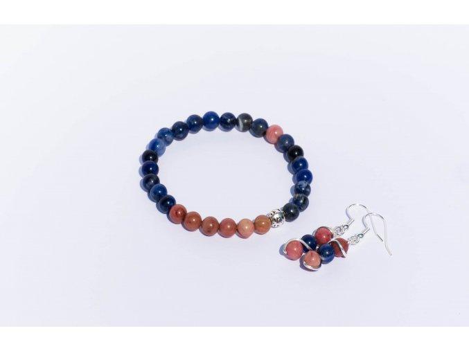 Sada náramek, náúšnice - Lapis lazuli, rodonit 6mm
