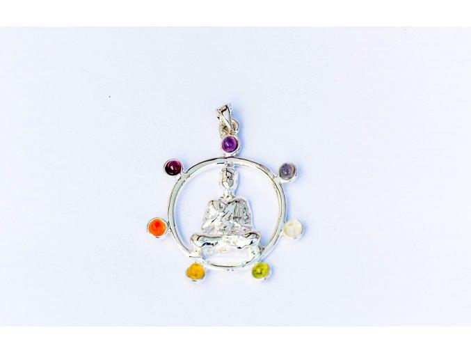 Přívěsek Buddha čakrový - postříbřený