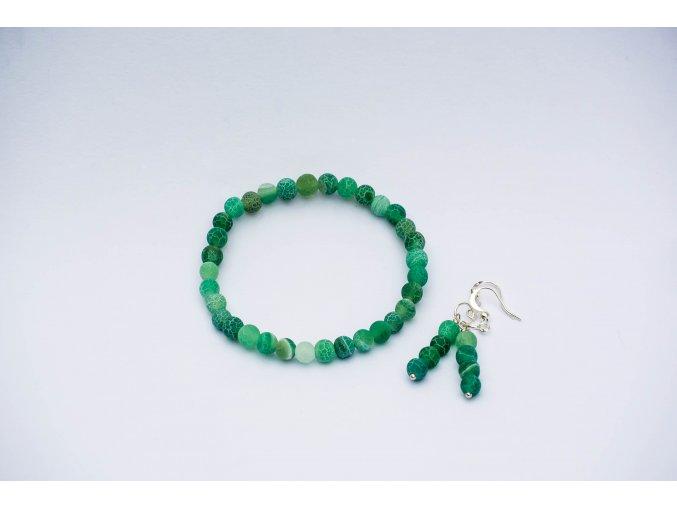 Achát dračí zelený náušnice