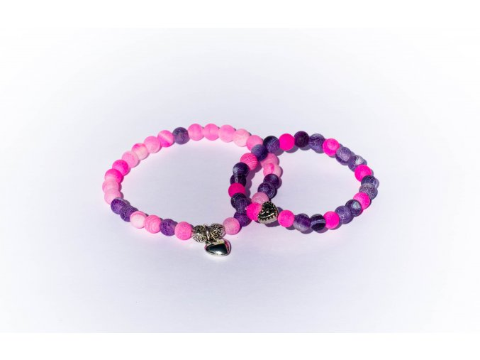 Náramek pro maminku a dítě - achát dračí růžový a fialový 6mm