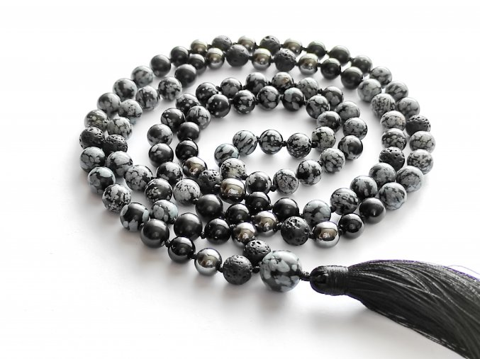 Mala obsidián vločkový, lávový kámen, onyx, hematit