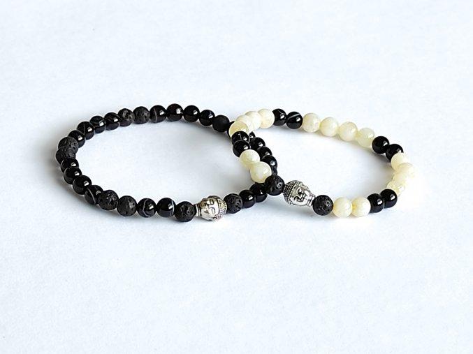 Partnerské náramky - černý onyx, lávový kámen, citrín, Buddha