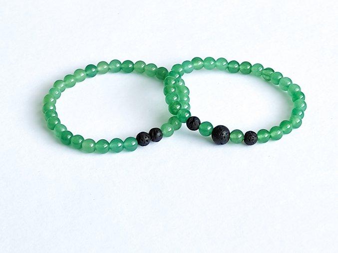 Partnerské náramky - zelený avanturin, lávový kámen
