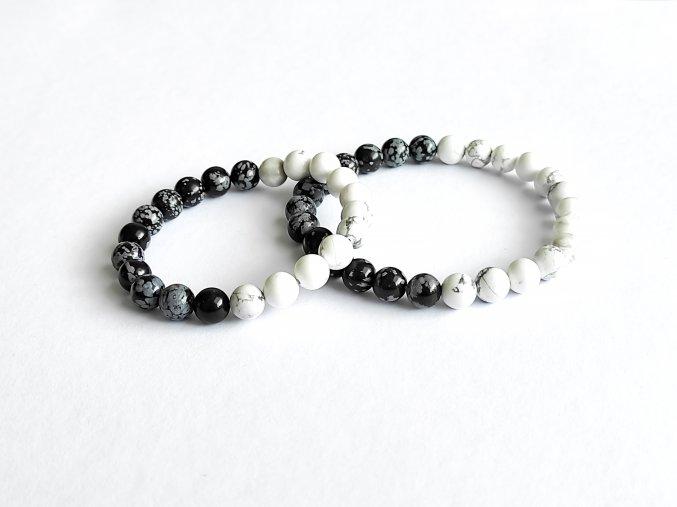 Partnerské náramky - bílý magnezit, obsidián vločkový