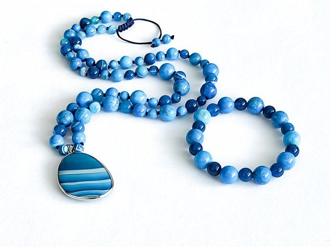 Náhrdelník z modrého achátu a apatitu + náramek