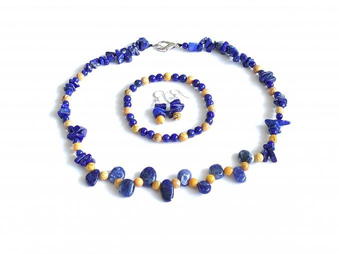 Sada náhrdelník, náramek a nášnice - sodalit, lapis lazuli, žlutý regalit